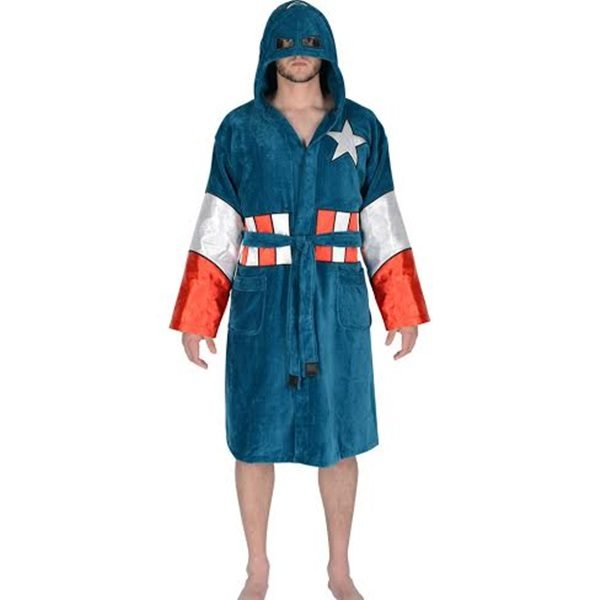 fed3636f08 Captain America Hooded Adult Terry Cloth Towel Bathrobe ONE SIZE ...