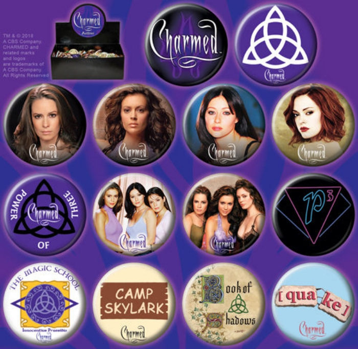 Original Charmed TV Series Metal Photo Round Button Assortment of 144 NEW  BOXED