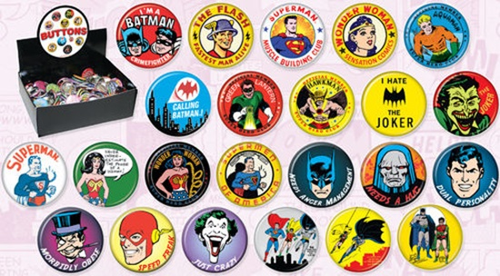 DC Comics Retro Heroes and Villains Metal Comic Art Button Assortment of  144 BOXED