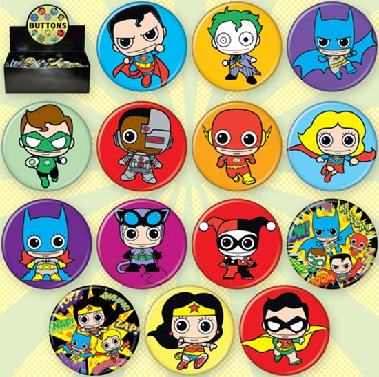 DC Comics Toy Characters Metal Art Button Assortment of 144 BOXED