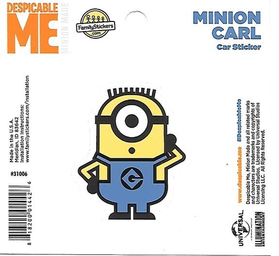 Despicable Me Minion Carl Figure Peel Off Car Sticker ...