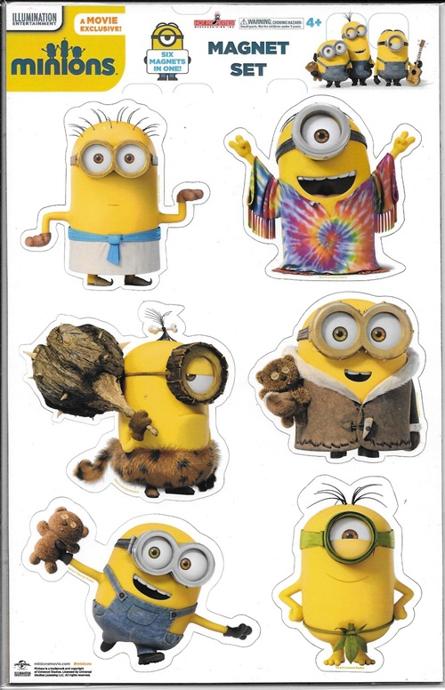 Minions Movie Minions Through Time 6 Piece Carded Peel-Off Magnet Set