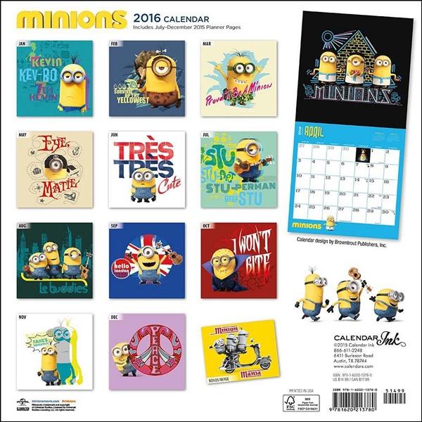 Art Calendar Atlanta : Despicable me minions animated art month wall