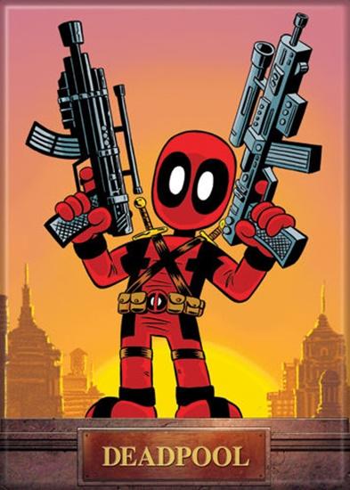 Marvel Comics Deadpool Mini With Guns Comic Art