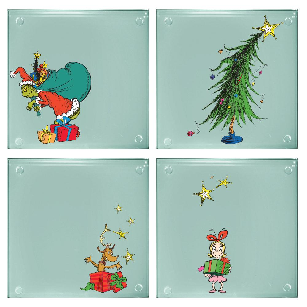 The Grinch Christmas Tree Movie.How The Grinch Stole Christmas Art Images 4 Piece Set Of Clear Glass Coasters