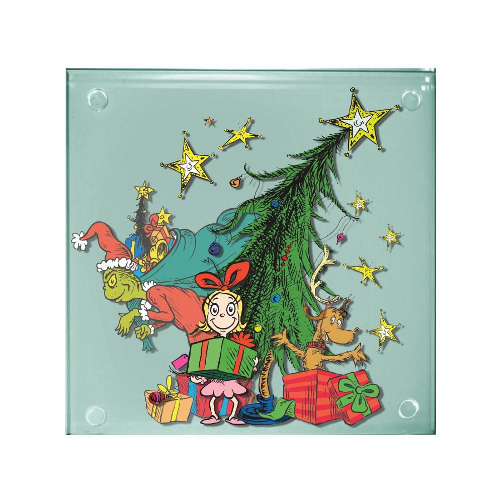 Peanuts Christmas Holiday Art Images 4 Piece Set of Clear Glass Coasters NEW