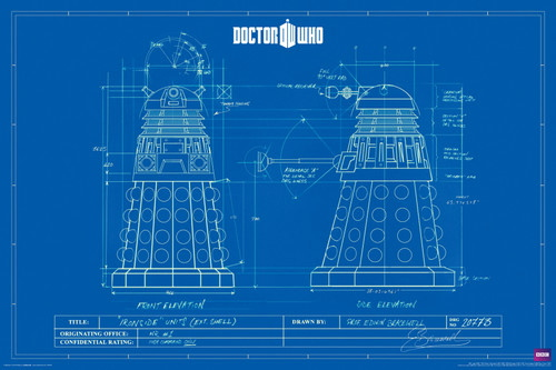 Doctor who dalek blueprint schematics 24 x 36 poster rolled doctor who dalek blueprint schematics 24 x 36 poster rolled malvernweather Gallery