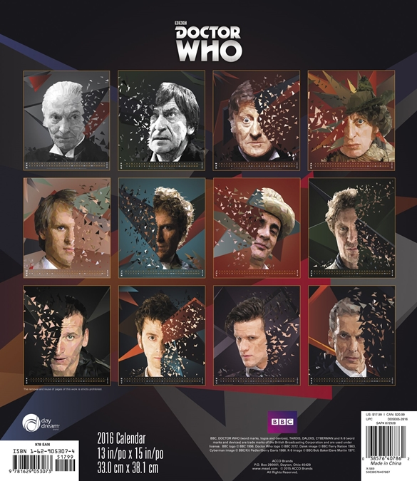 Doctor who tv series special edition 12 month 2016 wall calendar.