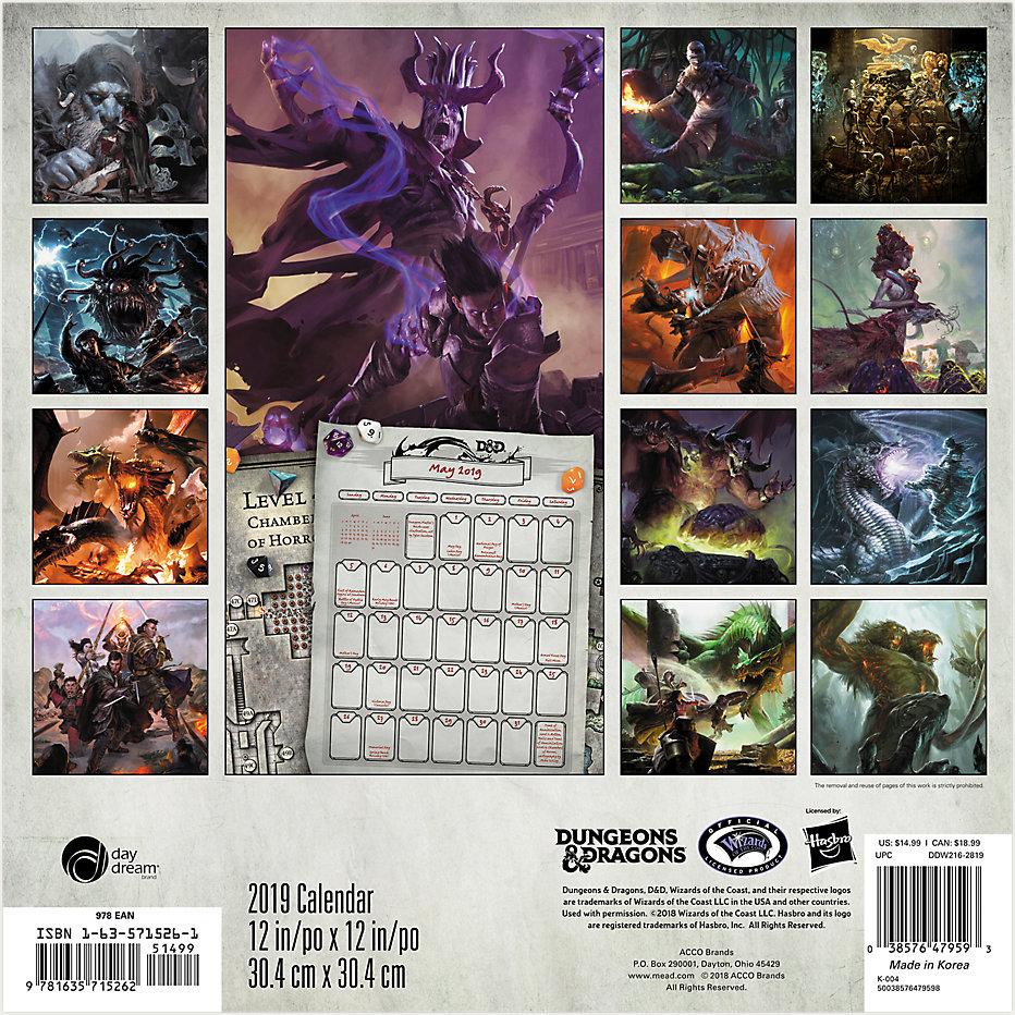 dungeons dragons fantasy art 16 month 2019 wall calendar new
