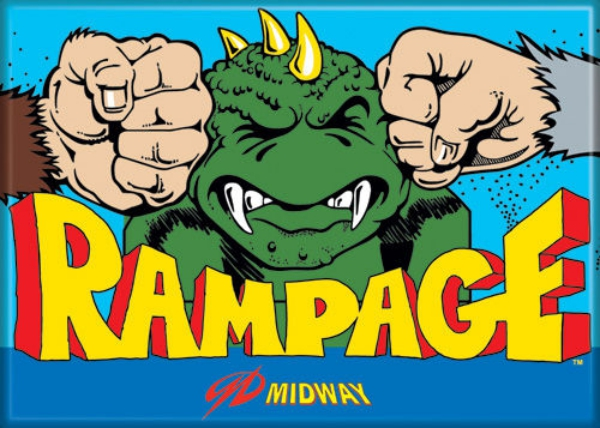Midway Arcade Game Rampage Classic Name Logo Refrigerator Magnet