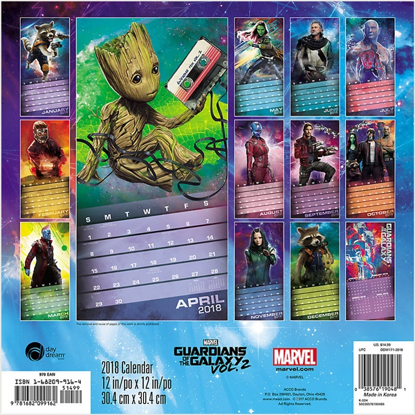 Guardians of the Galaxy Vol. 2 Movie 16 Month 2018 Wall Calendar