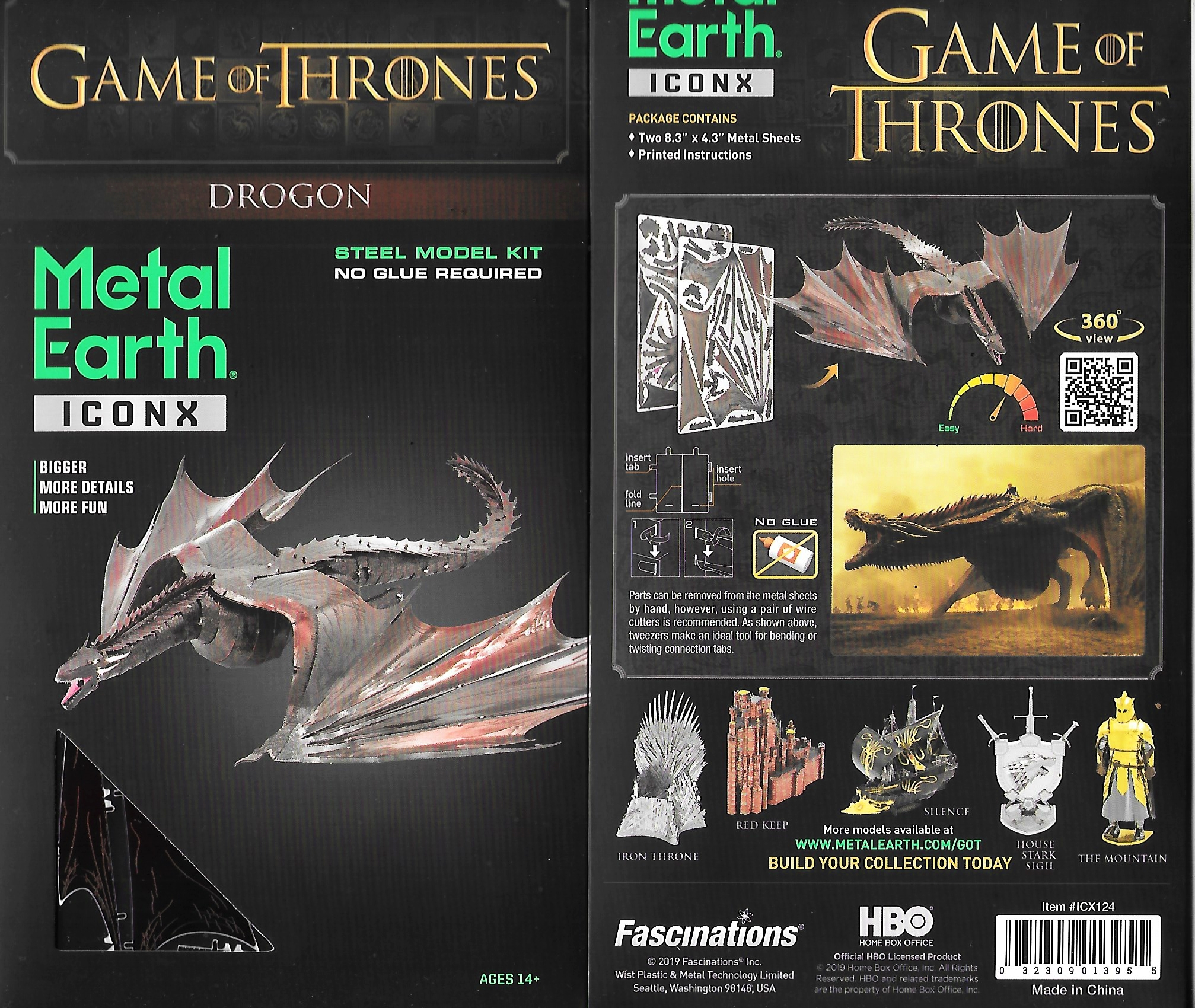 Game of Thrones Drogon Dragon Metal Earth ICONX 3D Steel Model Kit NEW  SEALED
