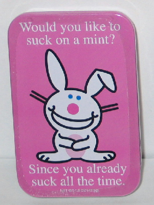 It/'s Happy Bunny Breath Mints in Humorous Illustrated Metal Tins Set of 3 SEALED