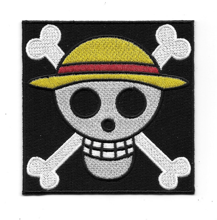 One Piece Japanese Anime Luffy Skull Flag Logo Embroidered Patch New Unused