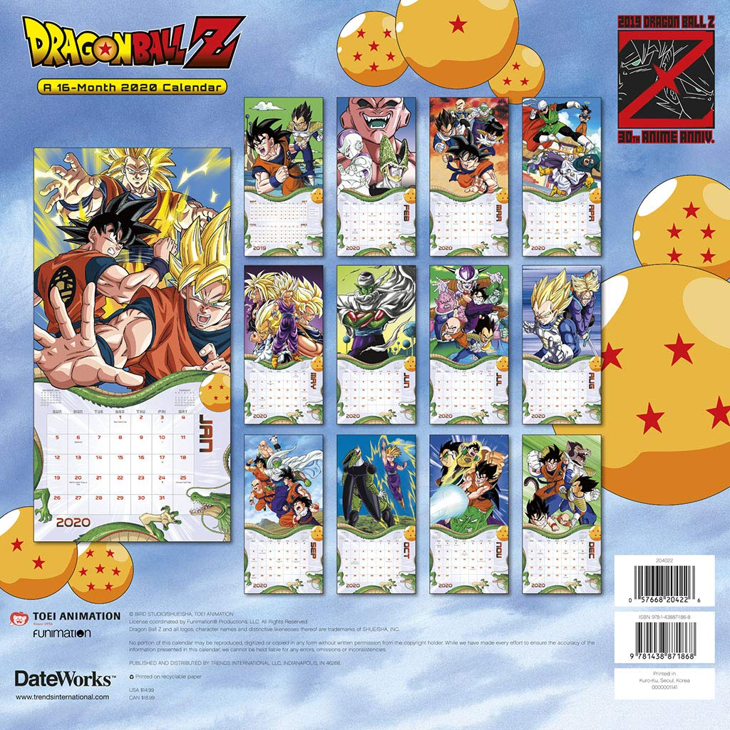 Best Selling Manga 2020.Dragon Ball Z 30th Anniversary 16 Month 2020 Anime Images Wall Calendar Sealed