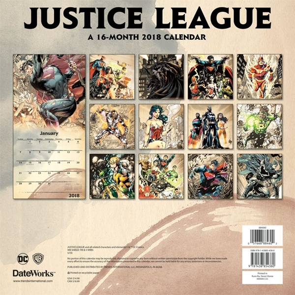 Art Calendar Atlanta : Dc comics justice league month comic art wall