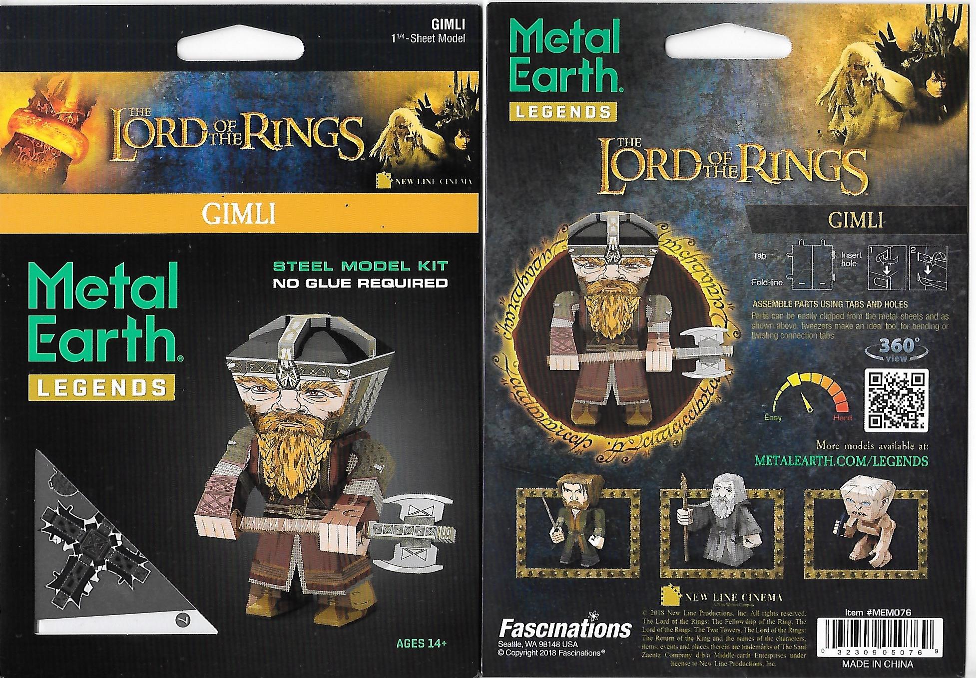 Lord of The Rings Gimli Metal Earth Legends 3-D Laser Cut Steel Model Kit  NEW