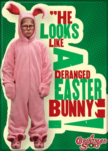 c3072265a02 a christmas story ralphie in pink bunny suit deranged photo fridge magnet