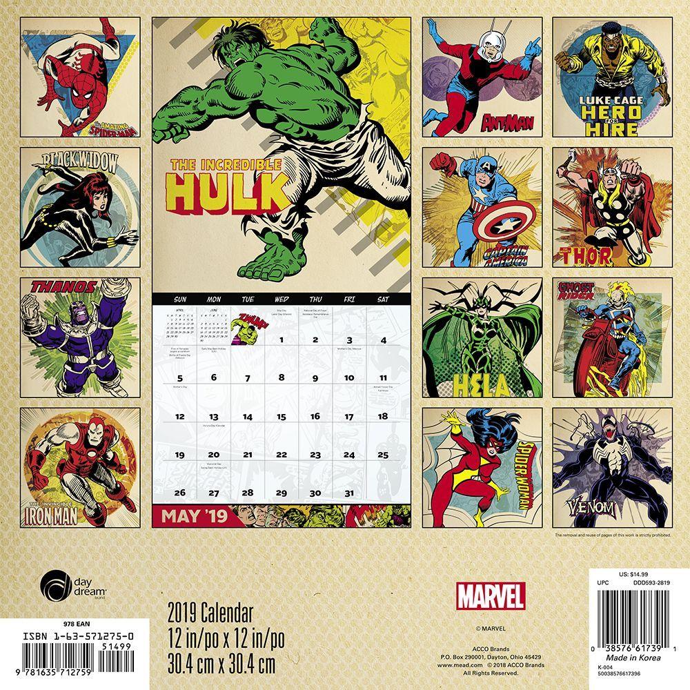 2019 Marvel Calendar Marvel Comics Avengers Assemble Comic Art 16 Month 2019 Wall