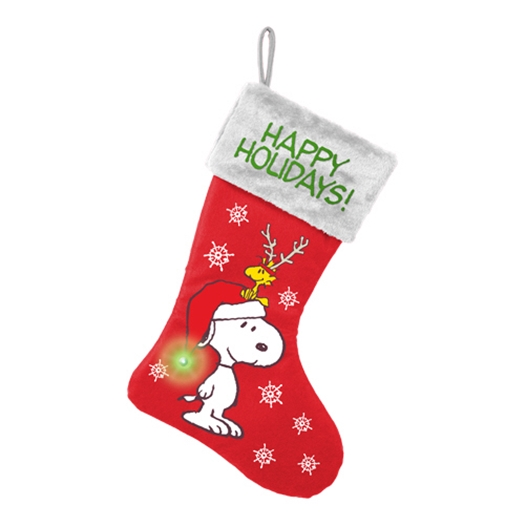 peanuts snoopy and woodstock 3d 17 led lighted satin christmas stocking - Snoopy Christmas Stocking
