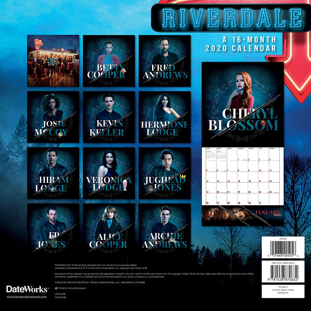 Riverdale TV Series 16 Month 2020 Photo Images Wall Calendar NEW
