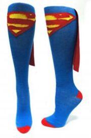 cfff12bacba Superman Logo Blue Knee High Derby Socks with Spandex Cape