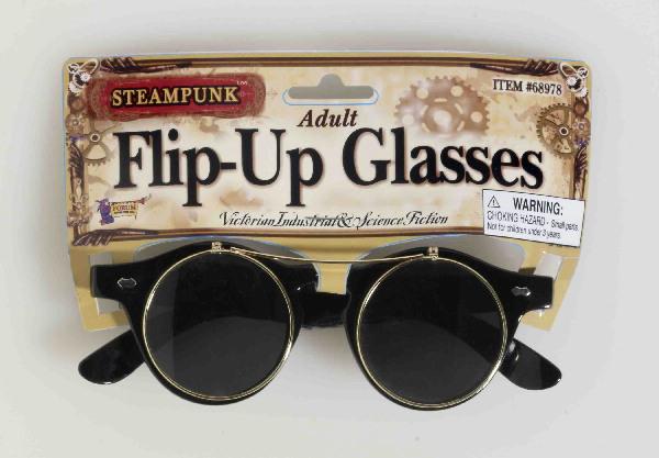 SteamPunk Cosplay Flip-Up Round Gold Rim Glasses
