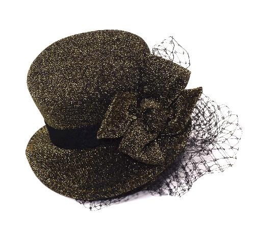 SteamPunk Mini Headband Brown Gold Top Hat with Veil  360b086c41d6