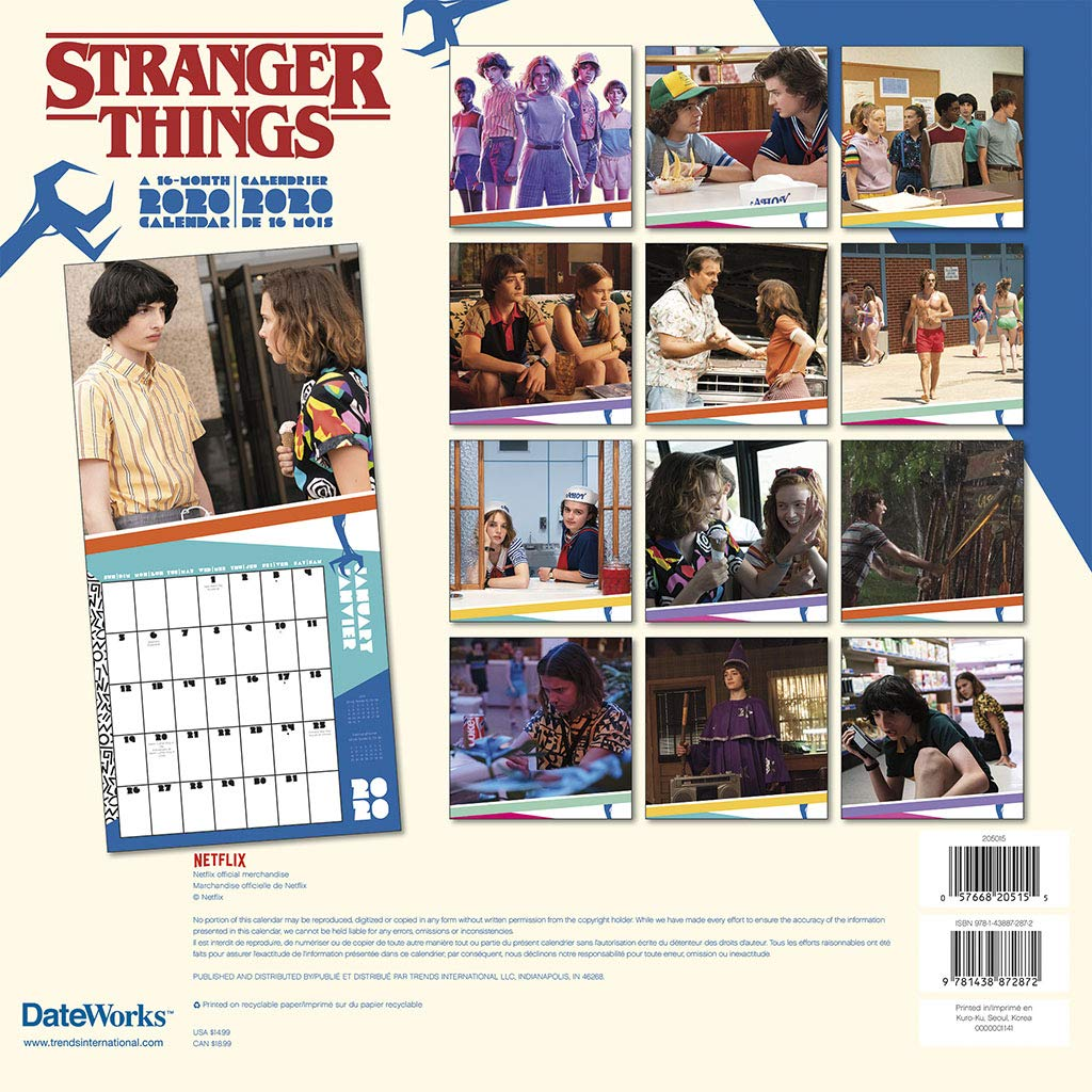 Calendrier Des Series 2020.Stranger Things Tv Series 16 Month 2020 Photo Filled Wall Calendar New Sealed