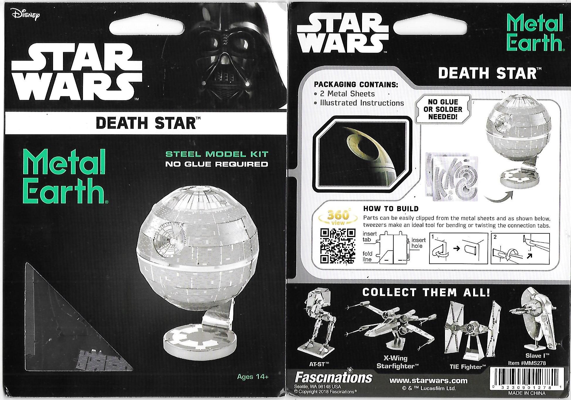 Star Wars Death Star Metal Earth 3-D Laser Cut Steel Model Kit #MMS278  SEALED
