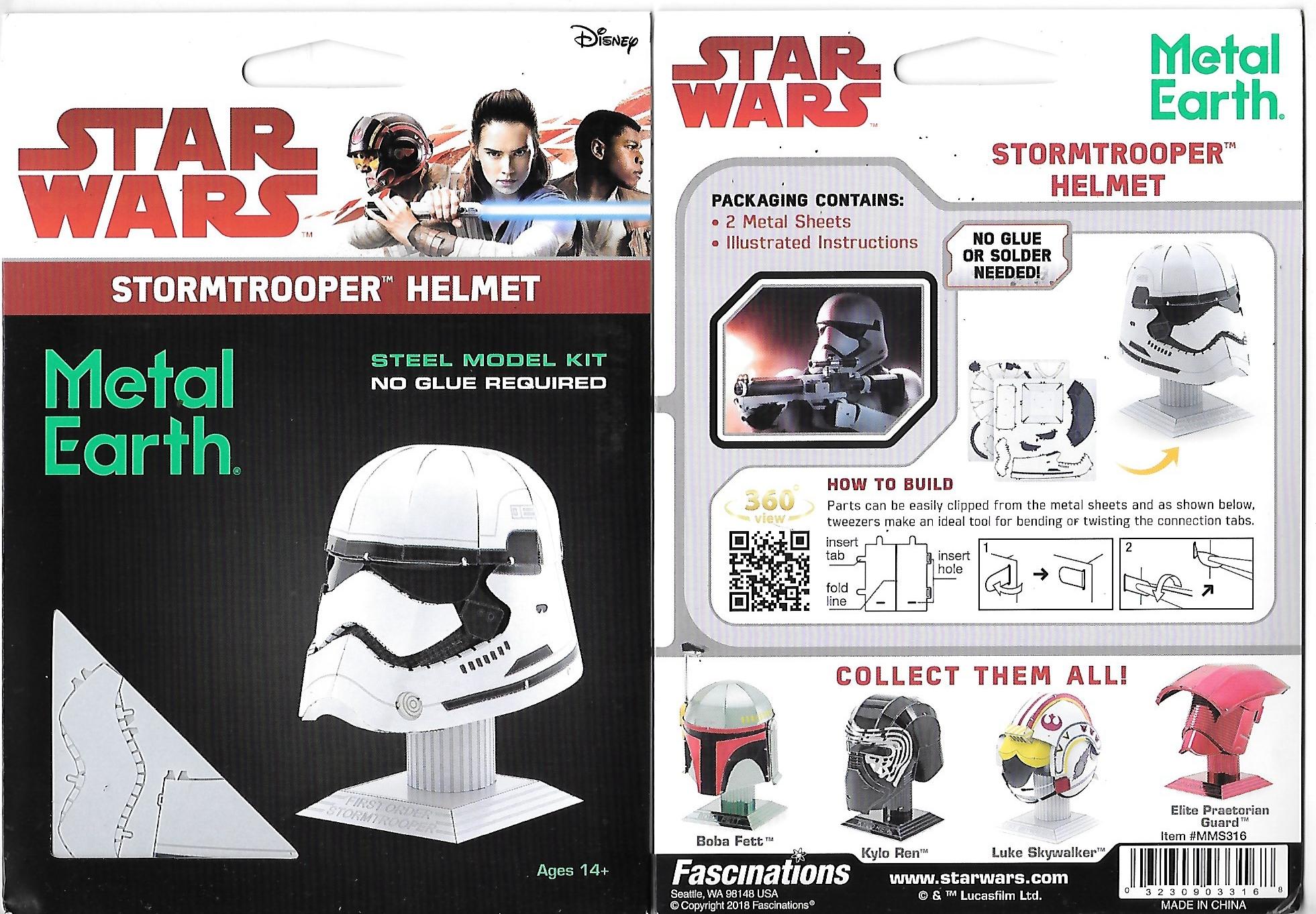 079cb31ca Star Wars StormTrooper Helmet Metal Earth 3-D Laser Cut Steel Model Kit   MMS316