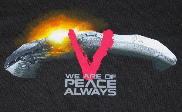 New V TV Series Alien Starship V Logo & Phrase T-Shirt