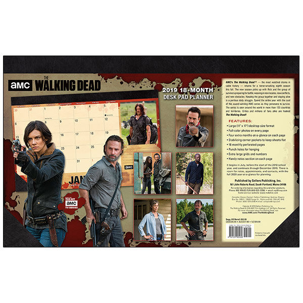 The Walking Dead 18 Month 2019 Desk Pad Monthly Planner Calendar New