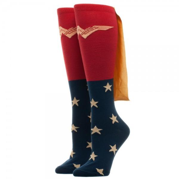 618dd35820c Wonder Woman Movie with New Logo Knee High Derby Socks with Shiny Cape